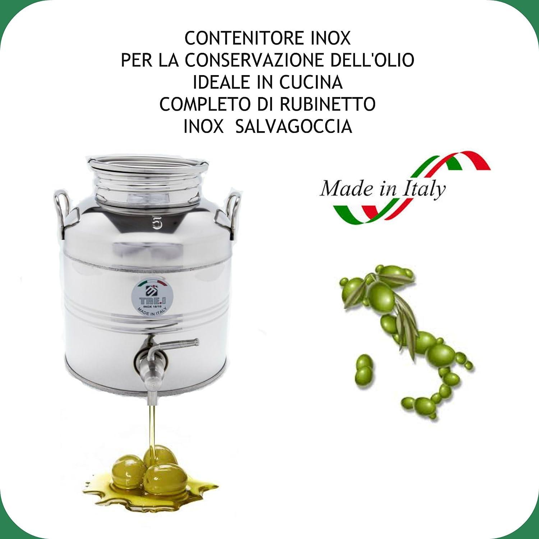 FUSTO IN ACCIAIO INOX 18/10 PER OLIO LT.5 + RUBINETTO SUPERFUSTI