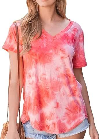 Women's Tie Dye Summer T Shirt V Neck Short Sleeve Casual Loose Tunic Tee Tops