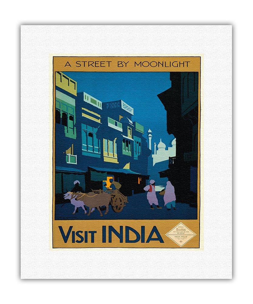 インド訪問 月明かりに照らされるストリート 牛車のあるストリートの風景 ビンテージな世界旅行のポスター によって作成された ヘンリージョージガソーン c.1920 キャンバスアート 28cm x 36cm キャンバスアート(ロール) B00JBW0G16 41cm x 51cm キャンバスアート(ロール) 41cm x 51cm キャンバスアート(ロール)