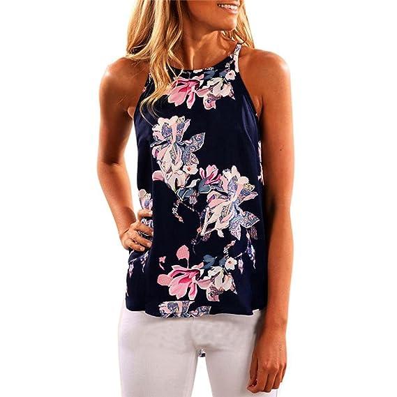Minetom Mujeres Verano Floral Imprimir Chaleco Sin Mangas Camisas Blusa Casual Blusas Camisetas Blusa Tops: Amazon.es: Ropa y accesorios