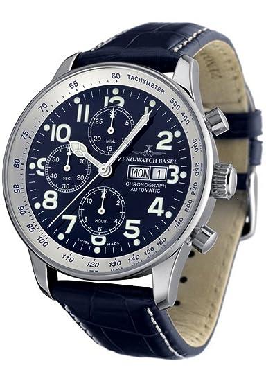Zeno Watch Basel Reloj para Hombre Analógico Automático con Brazalete de Cuero P557TVDD-b4: Amazon.es: Relojes