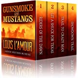 GUNSMOKE AND MUSTANGS: The Louis L'Amour 4 Book Western Bundle - Riders Of The Dawn , Lit A Shuck For Texas, Trail To Crazy M