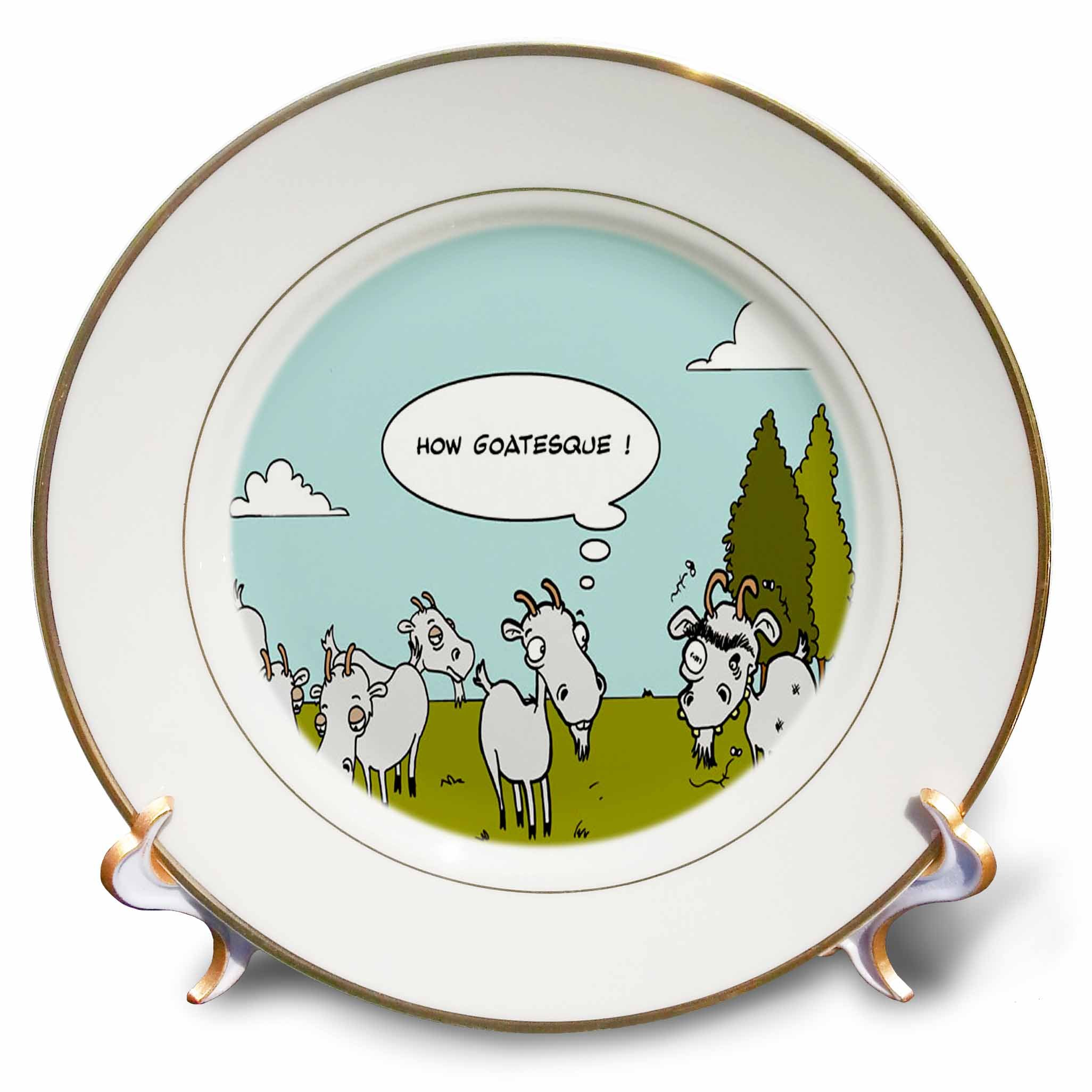 Londons Times Funny Animals Cartoons - Ugly Goat Gossip - 8 inch Porcelain Plate (cp_1392_1)