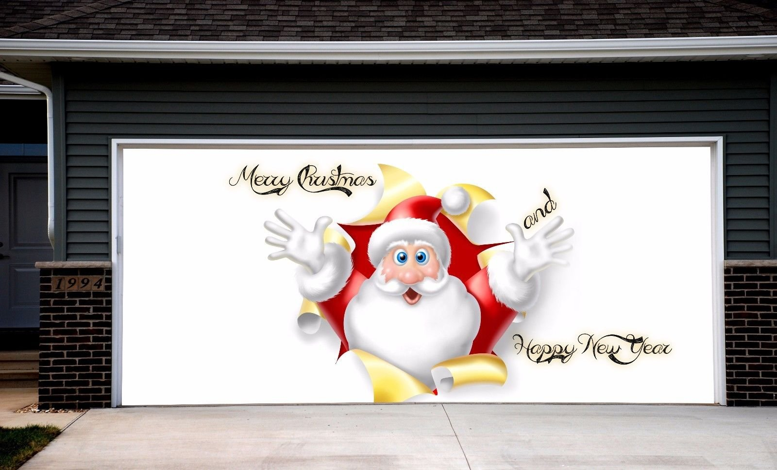 Christmas Garage Door Covers Banners Outdoor Holiday Full Color Santa Claus Merry Christmas Decorations Billboard for 2 Car Garage Door House Art Murals size 82x188 inches DAV31
