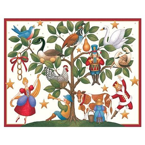 Caspari Christmas Cards.Caspari 12 Days Of Xmas Mini Boxed Christmas Cards 16 Cards Envelopes
