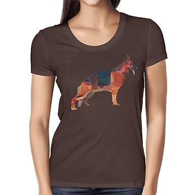 Texlab Poly German Shepard - Damen T-Shirt, Größe S, Braun