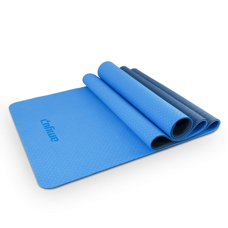 D-Sports Trainingsmatte - Yogamatte extrem rutschfest TPE - 183x61x0,6cm Fitnessmatte für Yoga, Gymnastik und Pilates mit praktischer Tragetasche | antirutschmatte sportmatte | gymnastikmatte für unterwegs