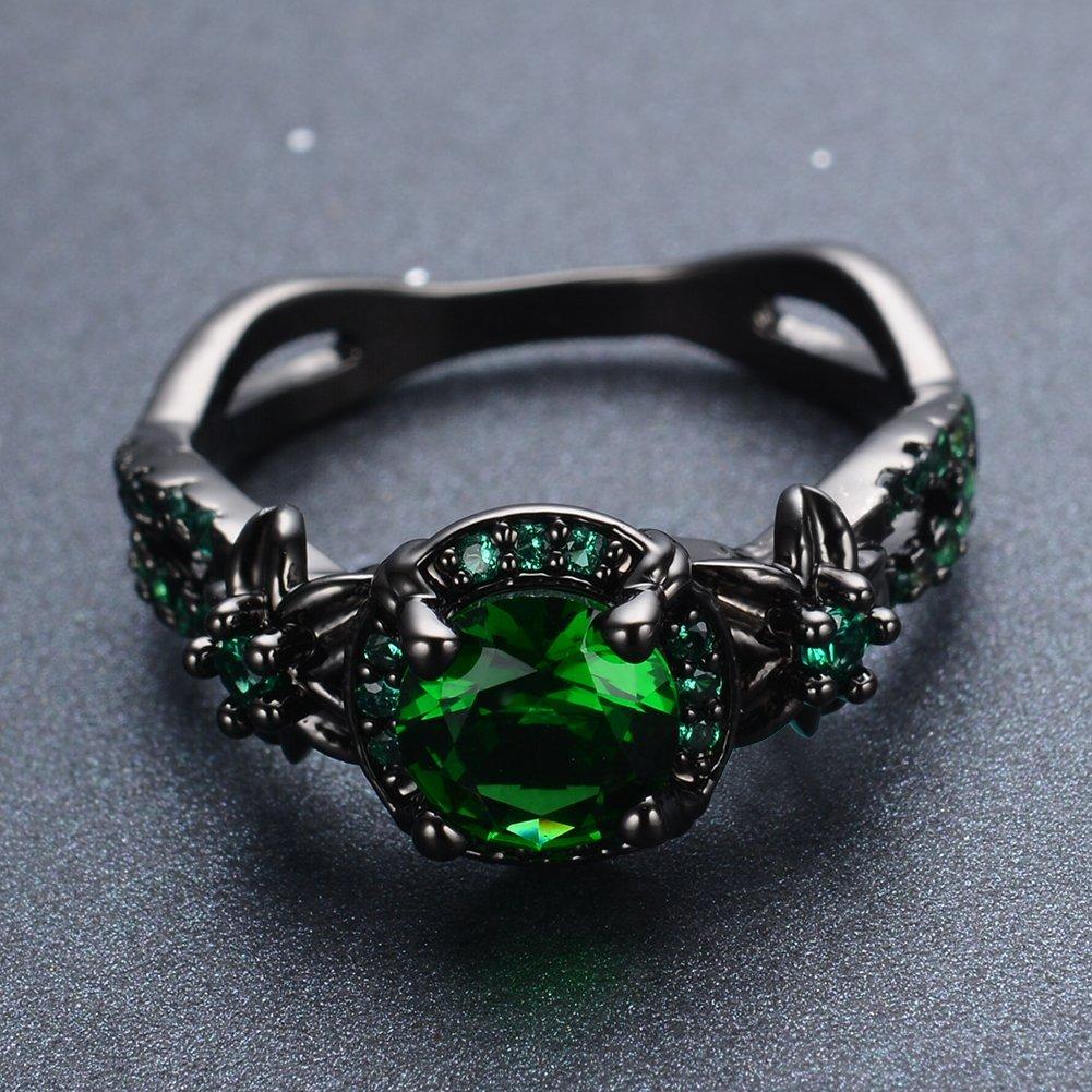 Bamos Jewelry - Anillo para mujer con piedra verde redonda, para ompromiso, boda, mejor amiga, Navidad, chapado en oro, tamaño 6-10: Amazon.es: Joyería