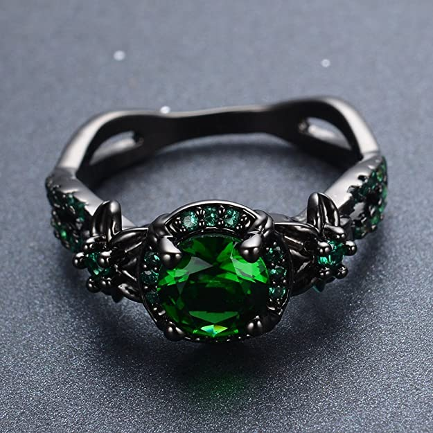 Bamos Jewelry - Anillo para mujer con piedra verde redonda ...