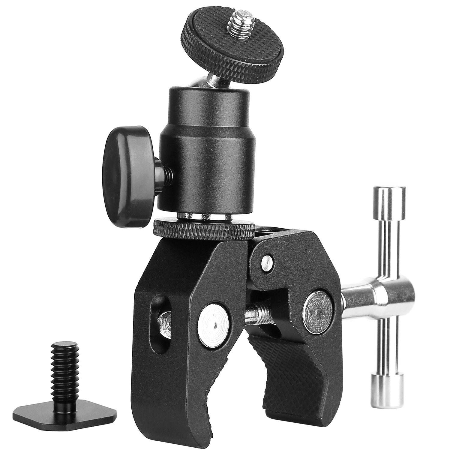 ChromLives Camera Clamp Mount Ball Head Clamp - Super Clamp and Mini Ball Head Hot Shoe Mount Adapter with 1/4''-20 Tripod Screw for LCD/DV Monitor, LED Lights, Flash Light,Microphone and More