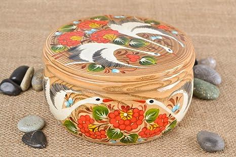 Caja de madera hecha a mano con pintura de Petrykivka bonita redonda