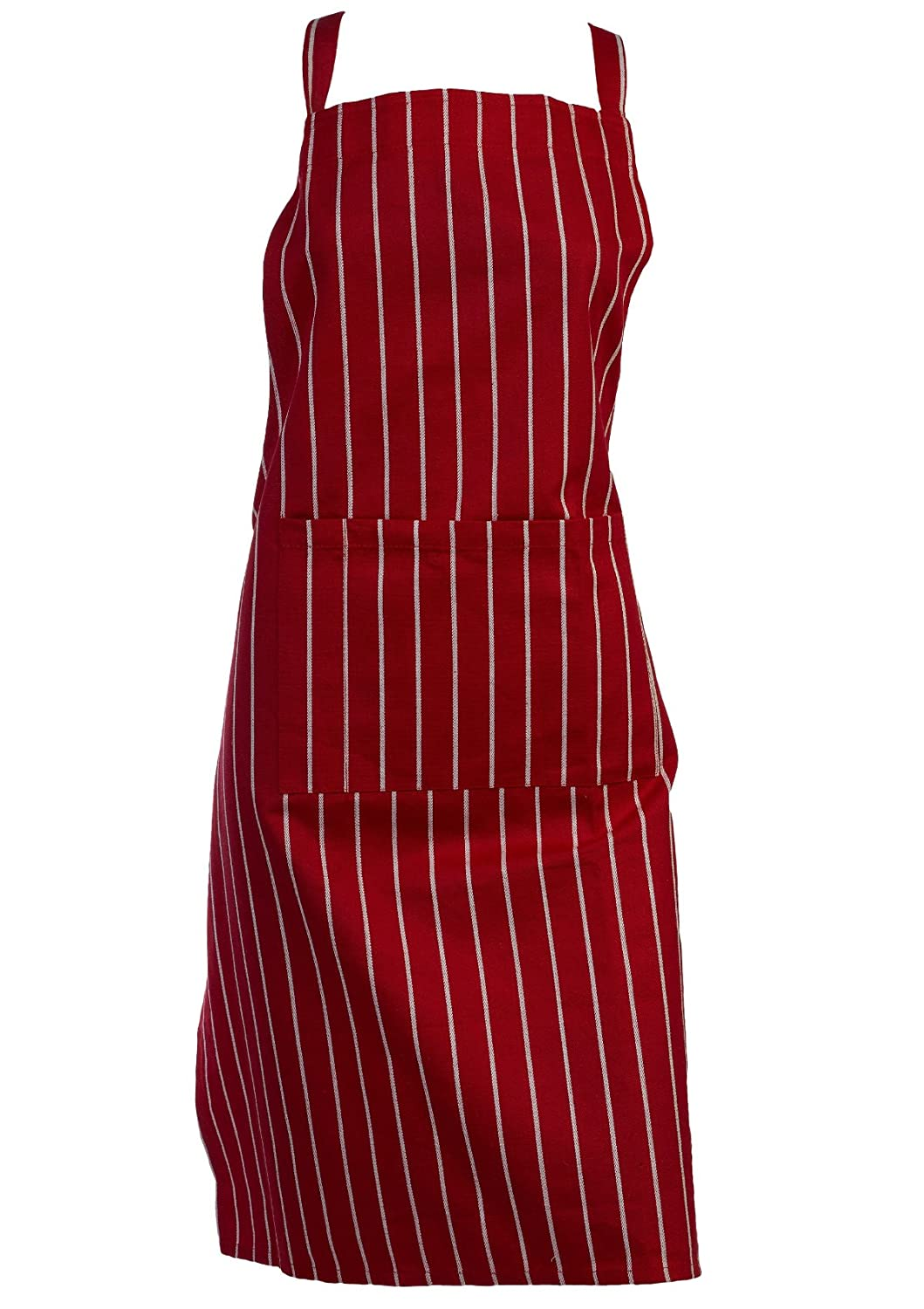 100% Cotton Woven Striped Butchers Kitchen Cooks Apron with Pocket Classic Home Store