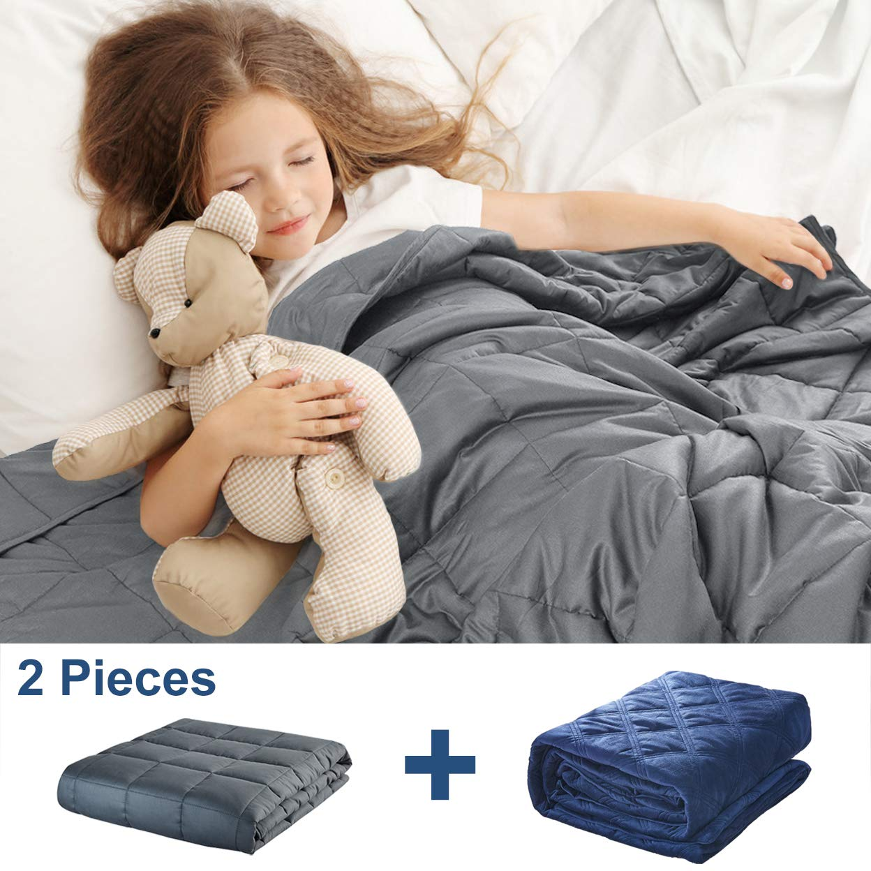 Weighted Blanket for Kids (10 lbs, 41''x60''), Weighted Blanket with Removable Cover Heavy Blanket with 100% Breathable Cotton and Glass Beads, Gray / Navy Blue by JOLLYVOGUE