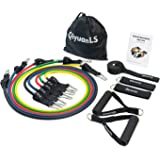 QiyuanLS Resistance Bands Set, [up to 100 lbs] With 5 Resistance Tubes, 2 Foam Handles, 2 Ankle Straps, Door Anchor and Carry Bag For Build Muscle,Fat Burning,Therapy,Rehabilitation and Home Workout