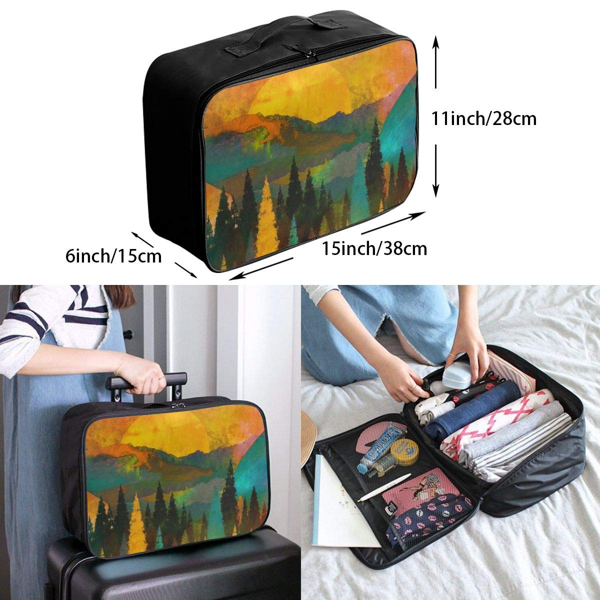 Tree Mountain Sun Sunrise Travel Lightweight Waterproof Foldable Storage Carry Luggage Large Capacity Portable Luggage Bag Duffel Bag