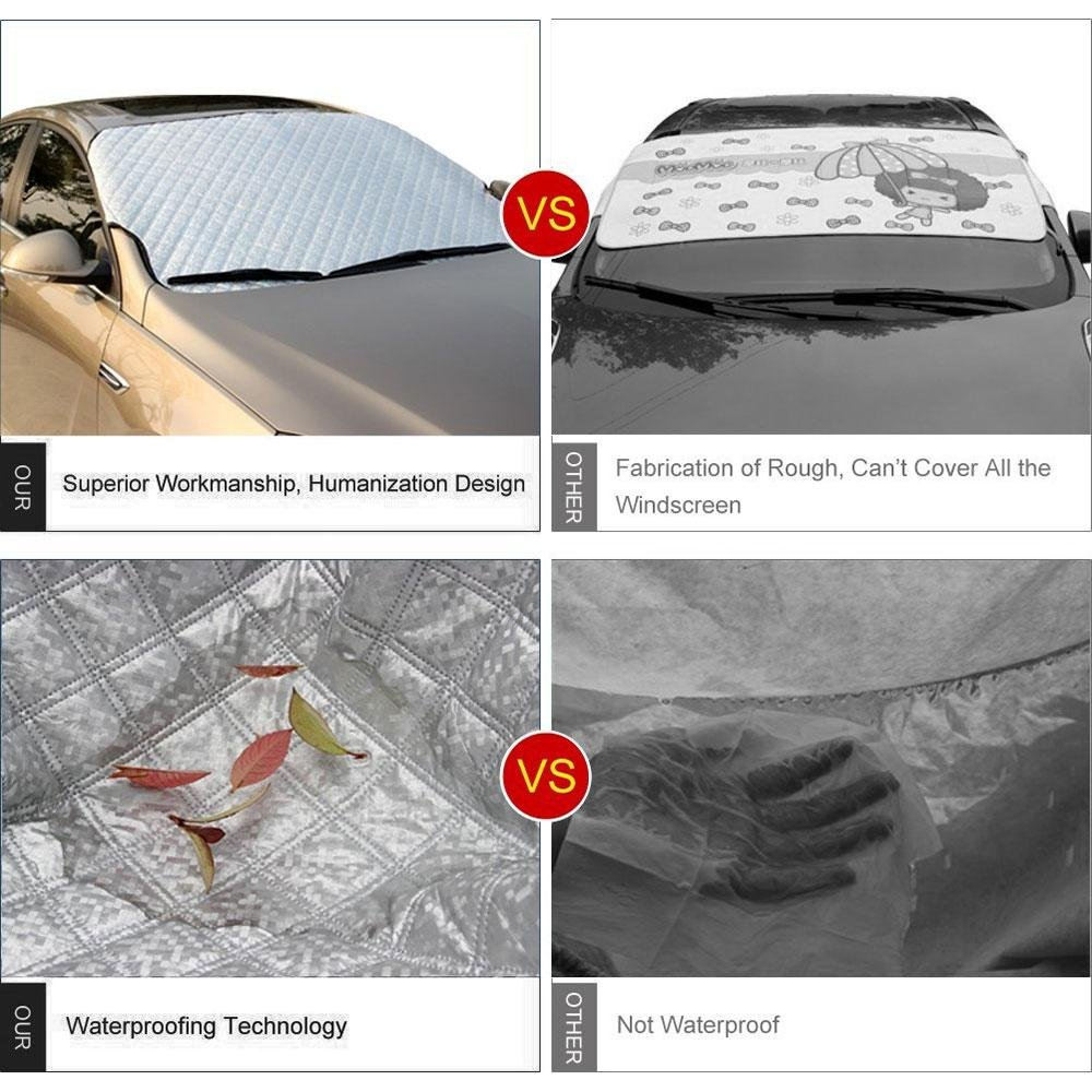 Winter Ice// Frost// Rain Sun Shade Weatherproof Guard Protector Hood with Reflective Warming Straps for Most Vehicles Trucks Wipers Mirrors KOBWA Car Windshield Snow Cover Silver