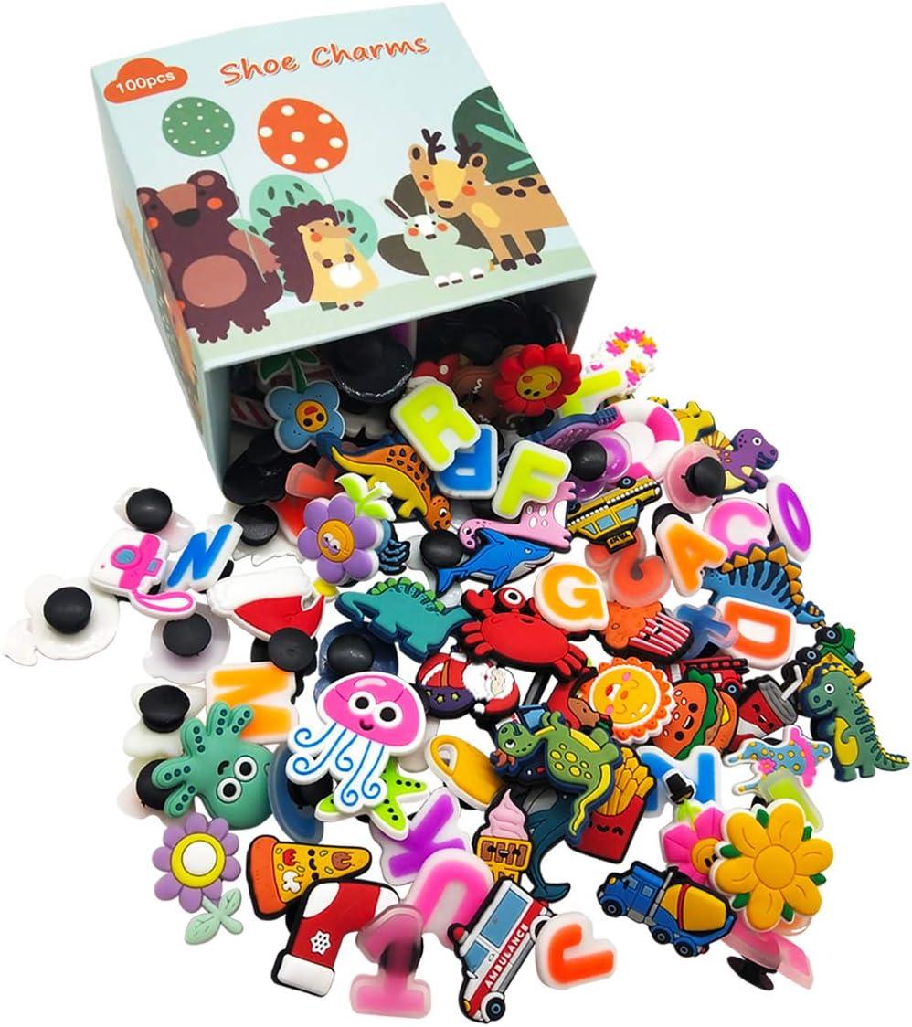 Decorazione di Scarpe Mix Color Colori e Stili Casuali For Croc Shoes /& Bracelet Wristband Kids Party Birthday Gifts 100 Pcs Different PVC Shoe Charms,Charm Decorativo