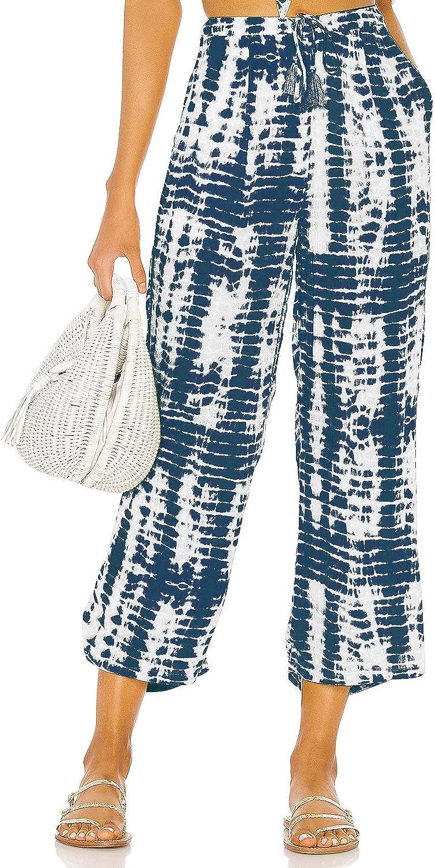 Nirovien Womens Tie Dye Lounge Cropped Pants Casual Drawstring Trouser Wide Leg Comfy Capri Pants
