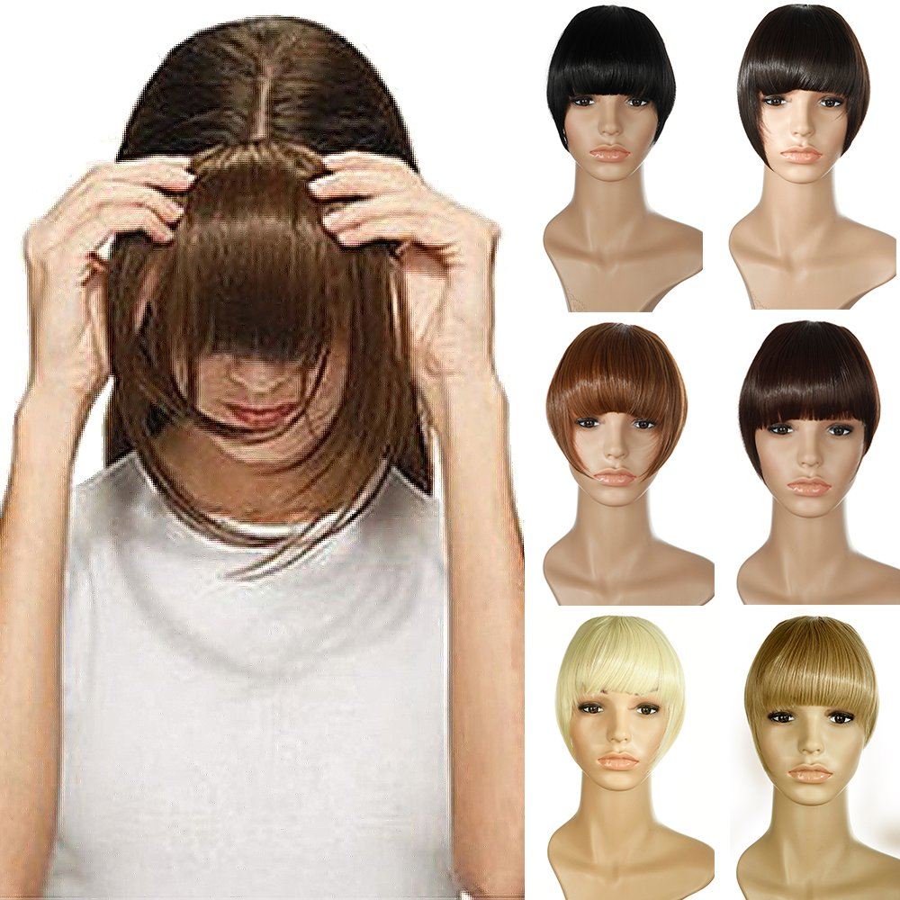 Clip in Extensions Pony-Haarteil natürliche Haarverlängerung glatt Kunsthaar 2 Clips #12 Hellbraun Elailite
