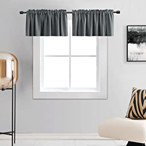 DONREN Medium Grey Valance -Basement Valances for Small Window with Rod Pocket (2 Panels,42 by 15 Inch)