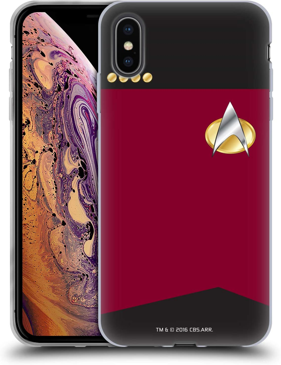 Head Case Designs Officially Licensed Star Trek Captain Uniforms and Badges TNG Soft Gel Case Compatible with Apple iPhone Xs Max