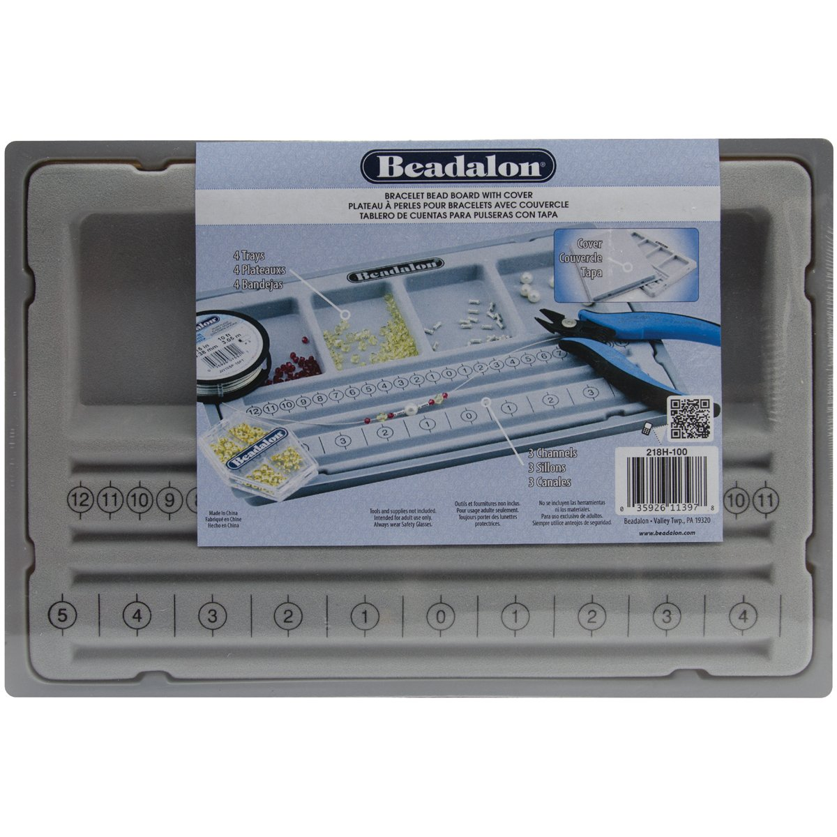 Beadalon Bracelet Bead Board W/Cover-7.75-inch x 11.25-inch, Other, Multicoloured Notions Marketing 218H-100