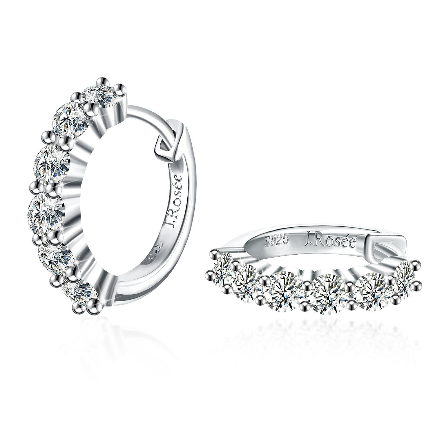 J.Rosée Women 925 Sterling Silver High Polished Cubic Zirconia Small Hinged Hoop Earrings