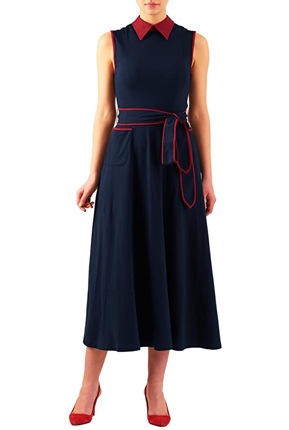 Plus Size Retro Dresses eShakti Womens Contrast collar cotton knit midi dress $52.95 AT vintagedancer.com