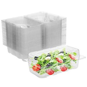 Karderon Disposable Plastic Hinged Food Container - 100 Pcs Clear Hinged Containers, 7.5