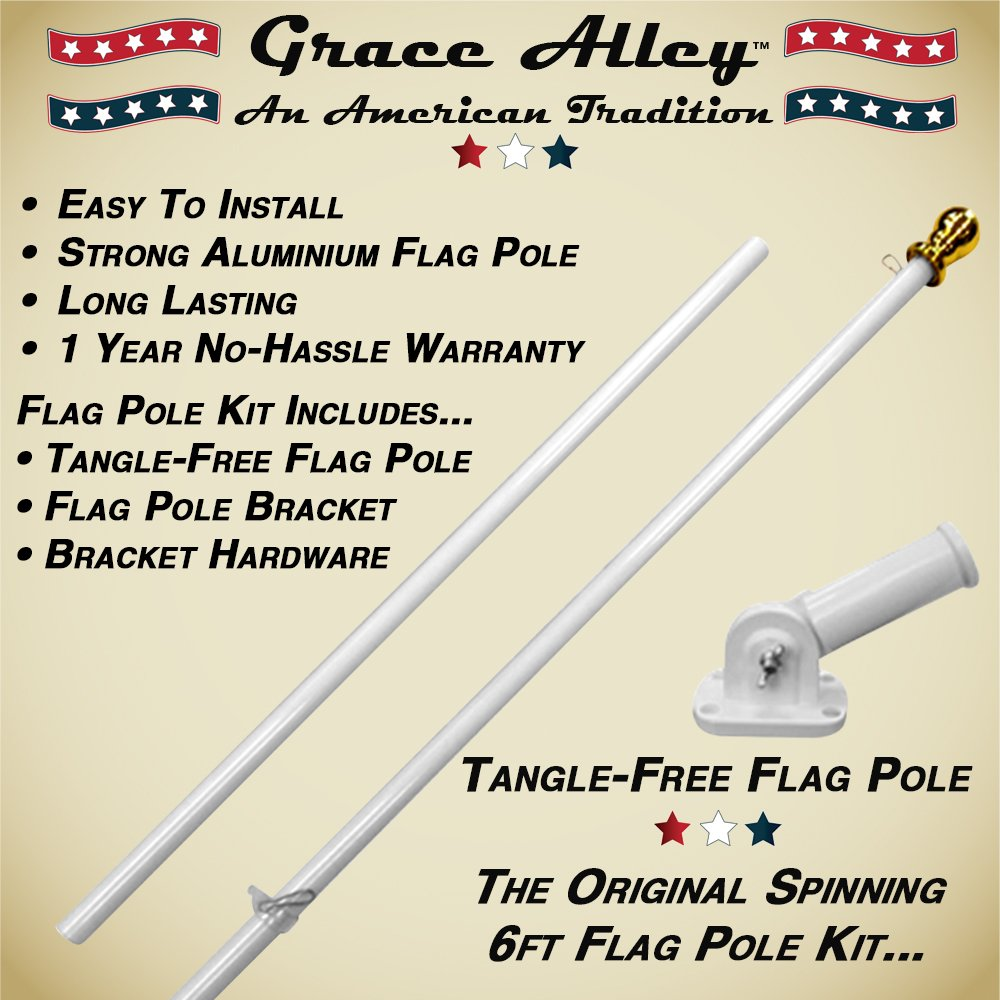 Flag Pole Kit: Outdoor Flag Pole Kit includes Tangle Free Spinning Flagpole and Flagpole bracket White by Grace Alley (Image #2)