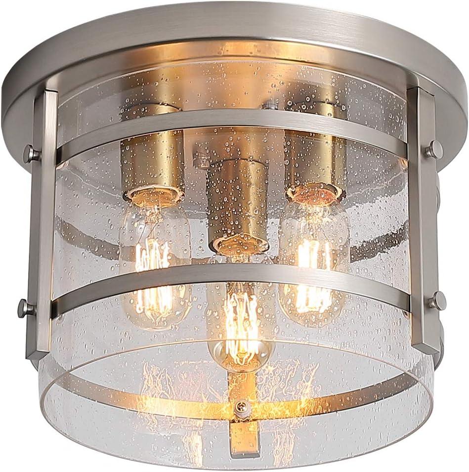 KDG 3-Light Flush Mount Ceiling Light Fixture,Adjustable,Clear Seeded Glass Shade,Silver Modern Industry Ceiling Light for Kitchen Bedroom Living Room Hallway Dining Room Bathroom