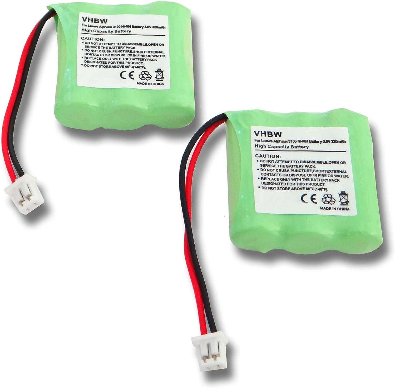 vhbw 2X baterías NiMH de 320mAh (3.6V) para teléfono inalámbrico Sagem D10T y LT2130.