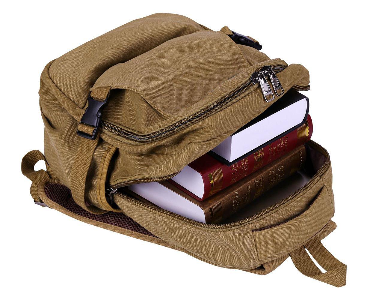 Laptop Backpack,VIDENG Business Canvas Handbags Bookbag for College Travel Backpack for Under 15 17 Inch Laptop (BCS-Brown) by VIDENG (Image #3)
