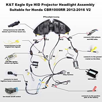 amazon com kt eagle eye led drl headlight assembly for honda amazon com kt eagle eye led drl headlight assembly for honda cbr1000rr 2012 2016 v2 blue demon eye automotive
