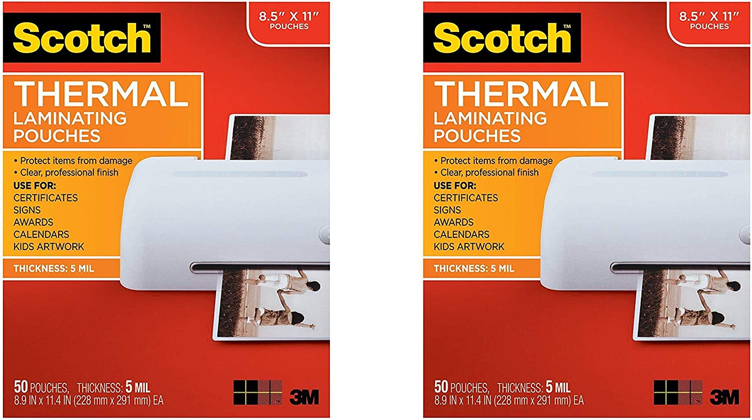 Letter Size Sheets 100-Pack Clear Scotch Brand Thermal Laminating Pouches TP5854-100 8.9 x 11.4 inches - 3 Pack 5 Mil Thick for Extra Protection