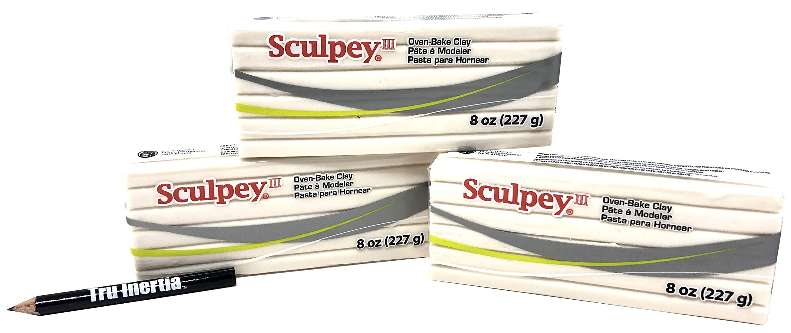 Sculpey III Polymer Clay Oven-Bake Clay Translucent 8 Ounce (Pack of 3) with Tru Inertia Pencil