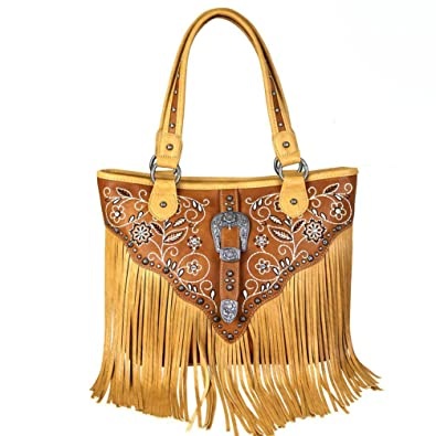 20b07b237142 Amazon.com: Montana West Handbag Western Buckle Bling Fringe ...
