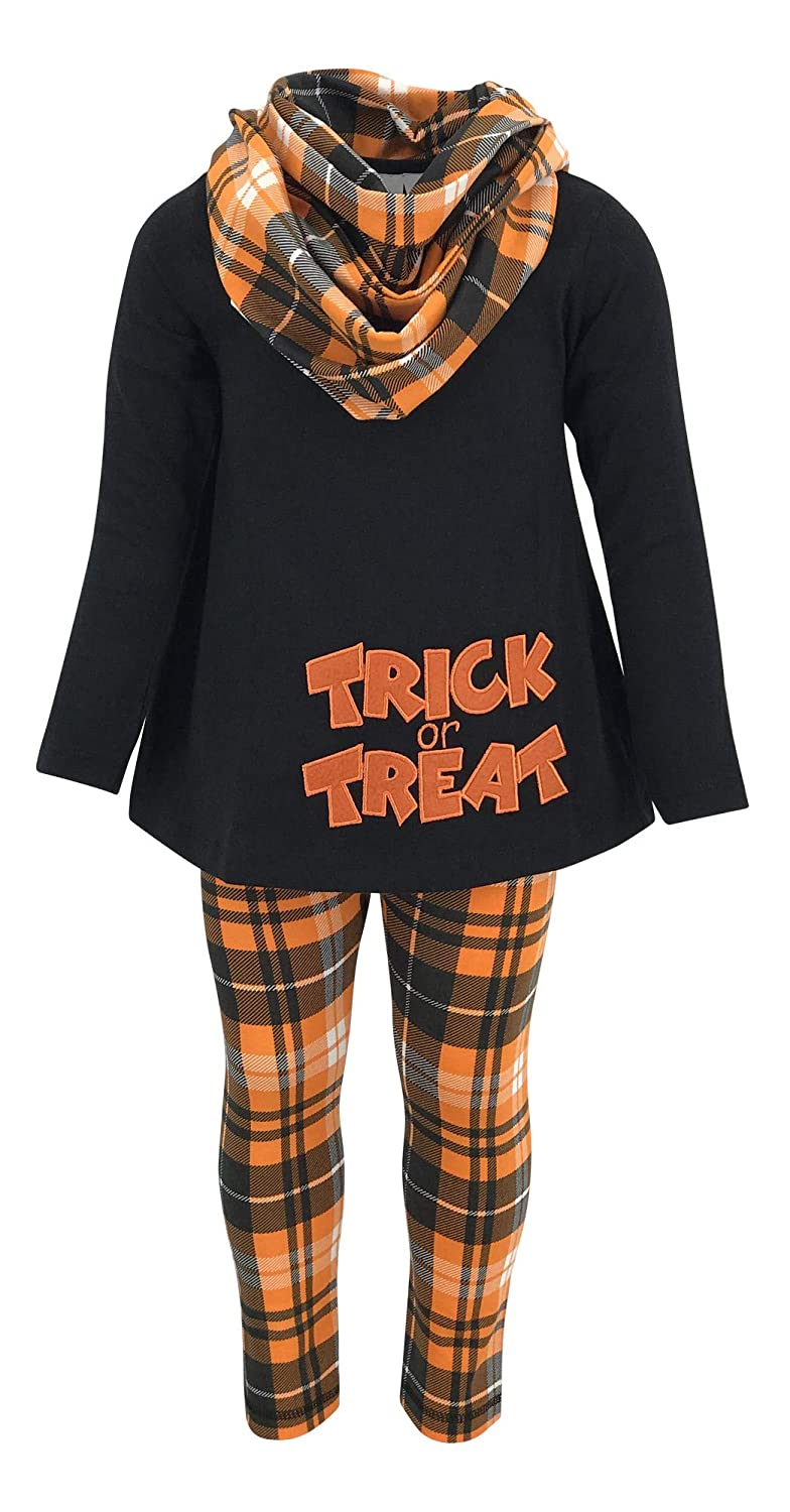 Unique Baby Girls 3 Piece Trick Treat Plaid Halloween Outfit