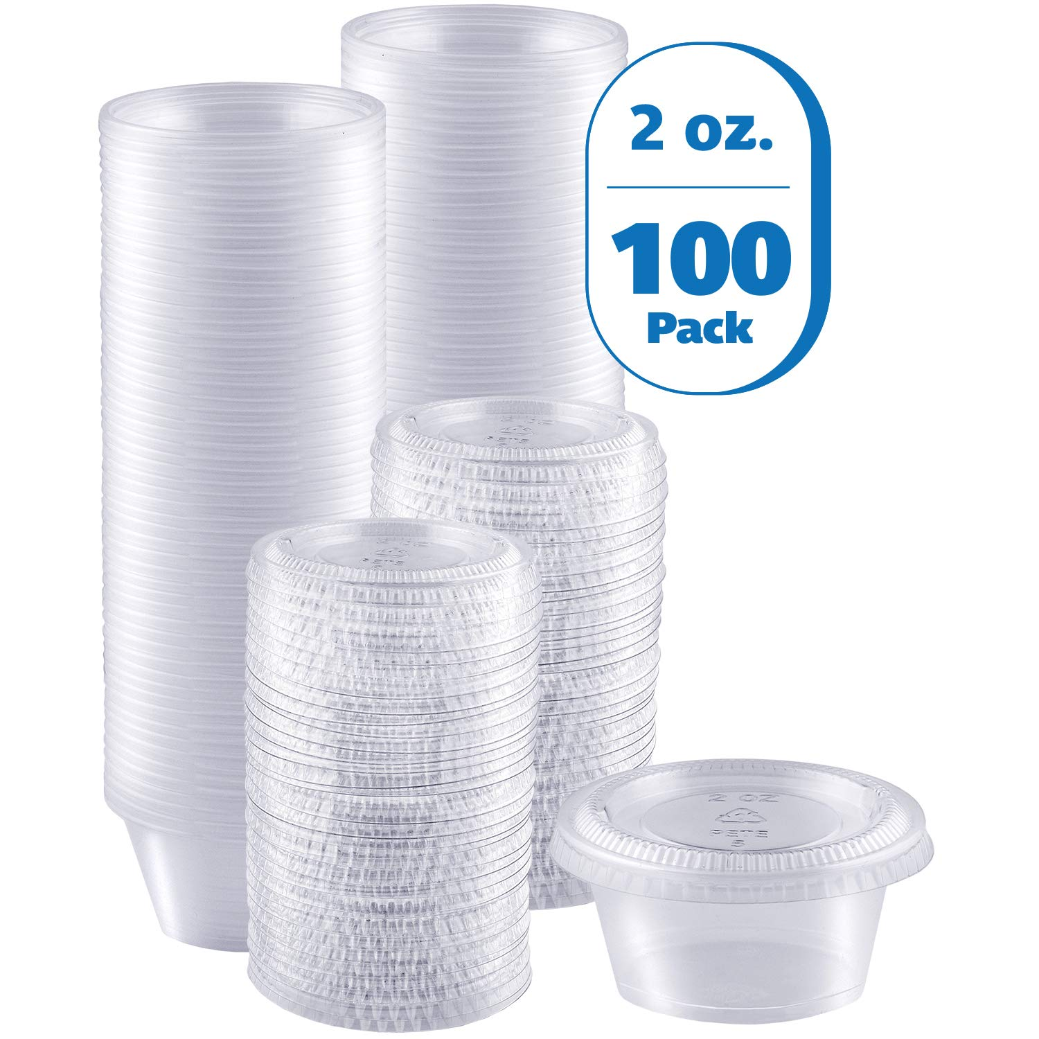 Zeml Portion Cups with Lids (2 Ounces, 100 Pack) | Disposable Plastic Cups for Meal Prep, Portion Control, Salad Dressing, Jello Shots, Slime & Medicine | Premium Small Plastic Condiment Container