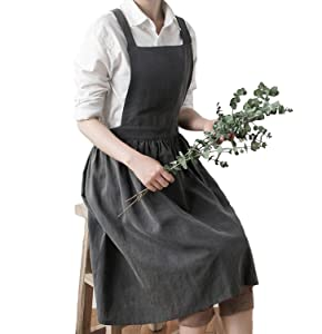 Aprons for Women Girls Plus Size, Womans Apron Retro Vintage Kitchen Cooking Aprons with Adjustable Shoulder Straps(Gray, Adults)