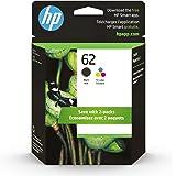 HP 62   2 Ink Cartridges   Black, Tri-color   Works with HP ENVY 5500 Series, 5600 Series, 7600 Series, HP OfficeJet 200, 250