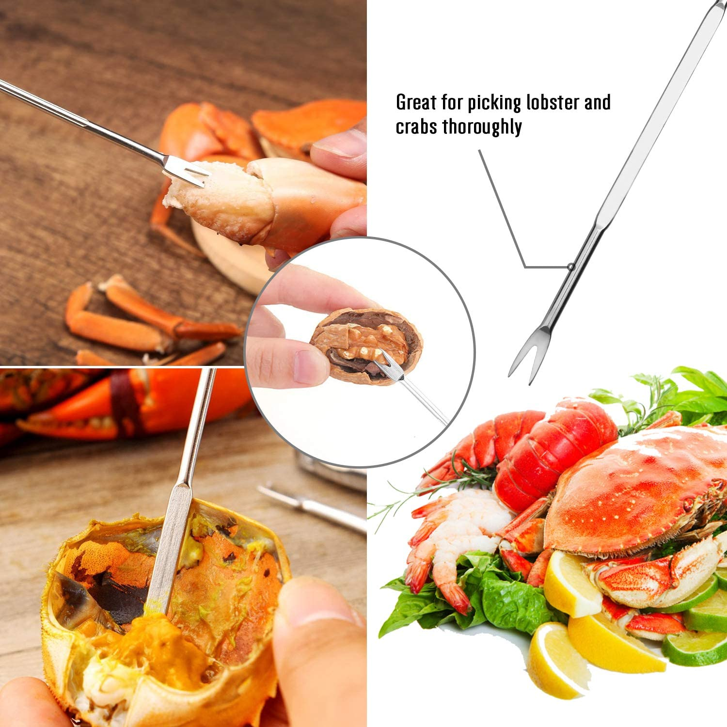 4 Lobster Shellers 4 Crab Forks//Picks and 1 Portable Bag Dishwasher Safe Hiware 13-piece Crab /& Lobster Crackers and Tools Set Includes 4 Crab Leg Crackers