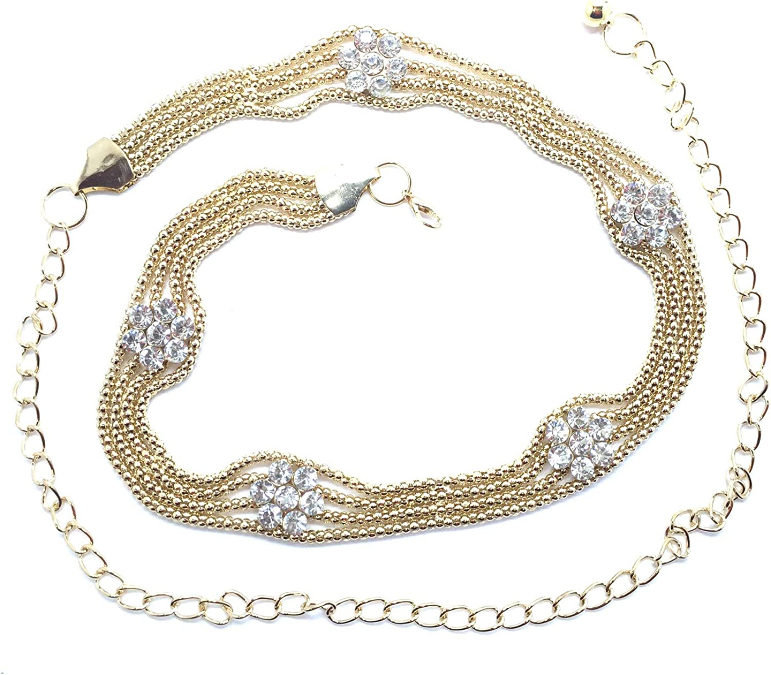 Gold Diamante Waist Chain Belt Rhinestone Adjustable Row for Women Dresses Gown