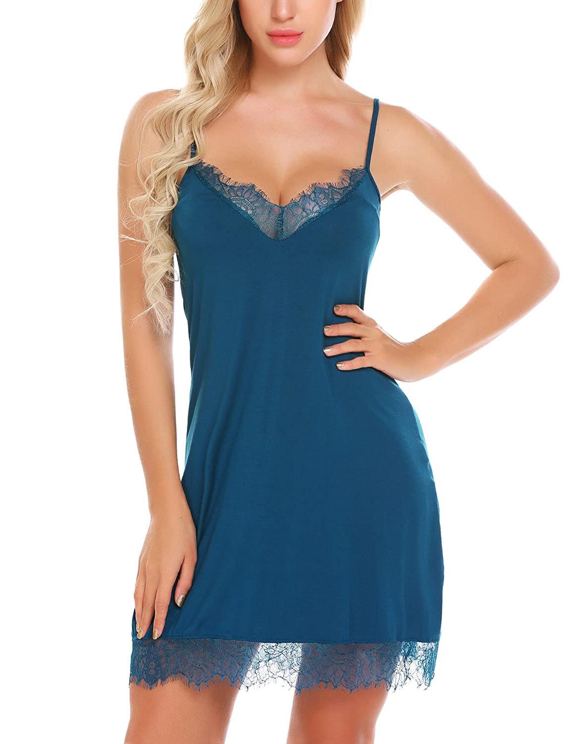 bluee Imposes Women Full Slip Cotton Nightgown Sexy Lingerie Lace Trim Chemise