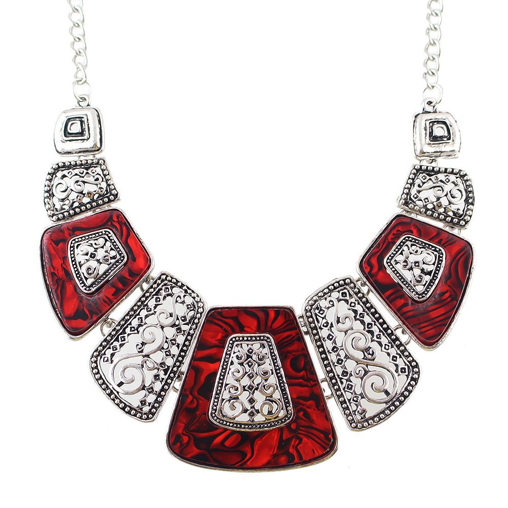 Feelontop® Vintage Indian Style Red Imitation Gemstone Statement Collar Necklace with Jewelry Pouch Nc-5351