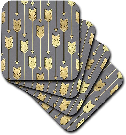 Set of 4 Soft Coasters CST/_219529/_1 3dRose Grey and Gold Arrows Pattern