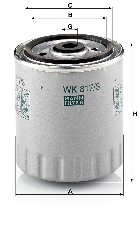 juego de juntas Para veh/ículos de utilidad MANN-FILTER Original Filtro de Combustible WK 817//3 X Set de filtro de combustible con junta