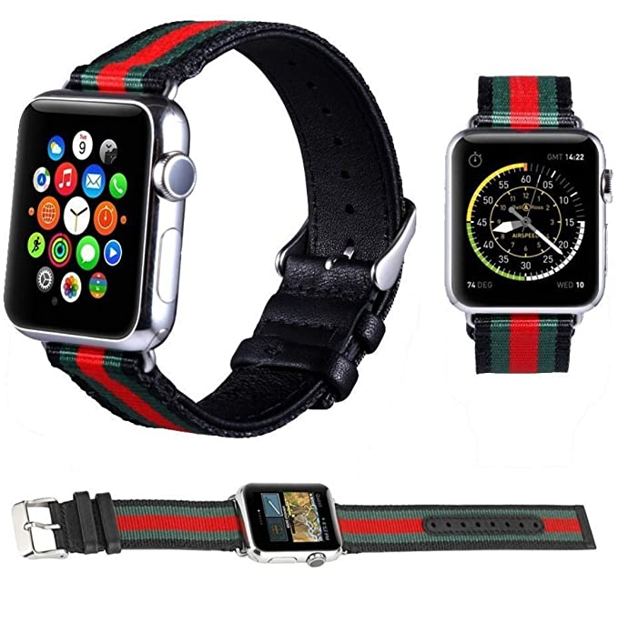 Amazon.com: Zarme Watch Band Leather, Nylon Compatible with ...