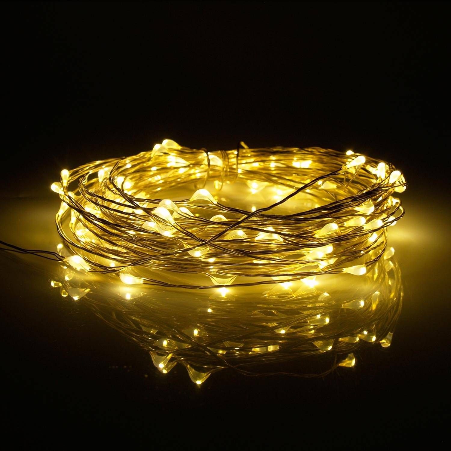 5v Power Adapter For Home Bedroom Christmas Wedding Party Decoration 33ft 10m 100 LED Fairy String Lights Ultra Thin Copper Wire Starry Light Warm White TM niceEshop
