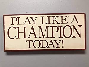 Notre Dame Notre Dame Play Like A Champion Notre Dame Football Custom Wood Signs Design Hanging Gift Decor for Home Coffee House Bar 5 x 10 Inch
